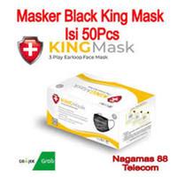 MASKER ALKINDO HITAM 1 BOX ISI 50PCS DISPOSABLE MASK 3 PLY EARLOOP