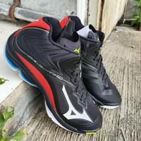 Sepatu Voli Volly Mizuno Wave Ligthing Z6 WLZ 6 Mid Black Red Original