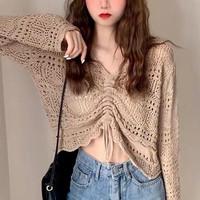 Atasan Blouse Knit Choco Cream Aesthetic Boho Crop Top JS