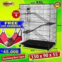 Kandang Kucing Tingkat 3 EXTRA JUMBO 130x90x55 + RODA