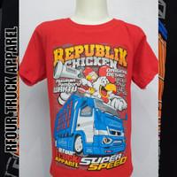 Kaos Anak Truk Mania Distro Super Speed Truk Truck Oleng Gambar Ayam - Merah Muda, XL