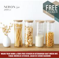 Grinn living Neron glass Bamboo jar 2000 ml toples bambu