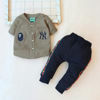 Setelan Baju Bayi anak laki 3 bulan - 12 bulan Motif Baseball NY 02