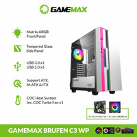 GAMEMAX BRUFEN C3 White Pink E-ATX Gaming PC Case