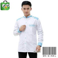 baju koko pria lengan panjang putih kombinasi baby blue motif adidaz