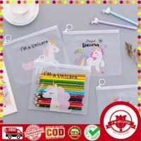 Tempat Pensil / Masker / Tas Pouch Kosmetik Transparan Unicorn