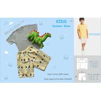 Setelan Baju Anak Laki-Laki Kaos Katun Celana Pendek Katun Jepang - Monty Eye, S