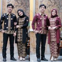 Set Sepasang Baju Kebaya + Kemeja Baju Sarimbit Songket Prada Emas