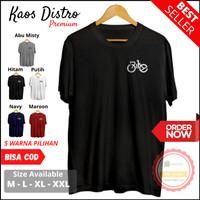 Baju Kaos Distro Atasan Pria Logo Bike Simple Keren Pria Hitam XXL