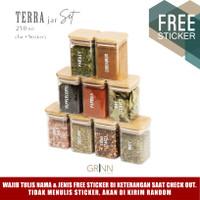 Grinn living Terra glass Bamboo jar 250 ml toples bambu *SET PACKAGE*