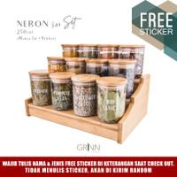 Grinn living Neron glass Bamboo jar 250 ml toples bambu *SET PACKAGE*