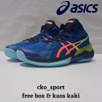 Sepatu Voli Asics Gel Sky Elite ff Biru Sepatu Volly +Free Kaos Kaki