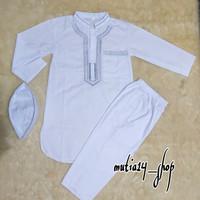 setelan baju koko pakistan anak laki lengan panjang khusus putih