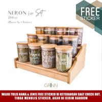 Grinn living Neron glass Bamboo jar 200 ml toples bambu *SET Package*