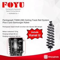 Pantograph T3000 (3 meter) Ceiling Track Rail System + 3 pcs Gantungan