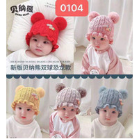 TP06 Topi pompom bayi 6-24 bulan laki perempuan kupluk rajut anak baby