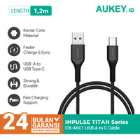 Aukey Cable USB A To USB C QC 2.0 Kevlar Cable 1.2M Black - 500412