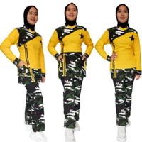 baju senam wanita setelan kuning army hijau bahan denim spandex katun - L