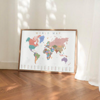 Peta Dunia - Poster Edukasi Anak - World Map - Kids Wall Art