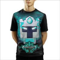 Baju Kaos Anak Laki-Laki Dan Perempuan Minecraft Frost Diamond Face