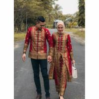 Sepasang Set Baju + kemeja Batik Songket Kurung U Palembang Couple
