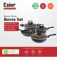 Esier Buvos Cookware Set - Panci Set Granit Lapis Marble 4 pcs