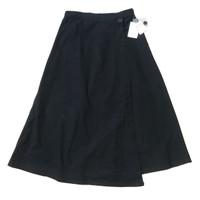 Rok Wrap Skirt Hitam Polos Katun Twill Jepang Korea Import