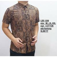Baju Batik Pria   Kemeja Batik Slimfit   Lengan Pendek COKLAT LBS1208