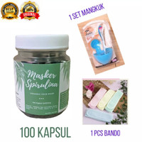 PROMO Masker Spirulina 100 Kapsul + Mangkuk Masker FREE Bando Mandi
