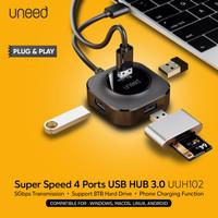 UNEED USB HUB 3.0 High Speed 4 Port Support 8TB Hard Drive - UUH102