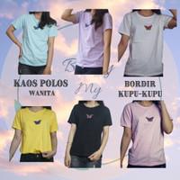 Kaos Polos Bordir Kupu-Kupu / Atasan Wanita / Kaos Wanita - Random