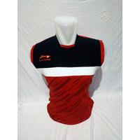Kaos volly bulutangkis pria wanita dewasa, Baju olahraga murah - Merah, L