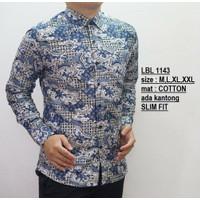 Baju Batik Pria | Kemeja Batik Slimfit | Lengan panjang BIRU LBL1143
