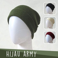 Topi Kupluk Dewasa Hijau Tua Army Green Tentara Beanie Hat Polos