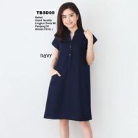 Midi Dress Wanita Polos Basic Uniqlo Tebal Adem Casual Formal TBND08 - navy