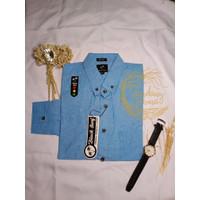 Kemeja Pria Lengan Panjang model Slimfit untuk Kerja & kantor (adem) - Biru, L