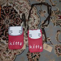Tas mini multiguna motif kitty, kanvas, lucu