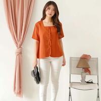 Atasan Blouse Button Baju Wanita Orange Loose Fit BC