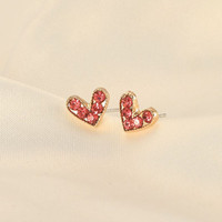 anting hati red rhinestone love earrings jan228