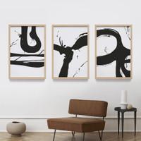 Lukisan Abstrak Brush Tinta Hitam Print Art Wall Decor Minimalis