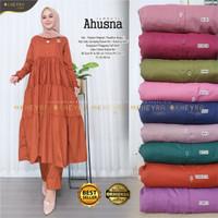 New Ahusna Set Setelan Celana Wanita Baju Hangout Santuy Toyobo Modis