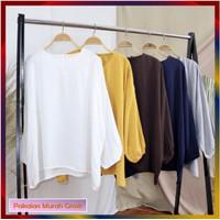 Baju Atasan Wanita Blouse LIU Lengan Panjang Bahan Twiscone Size XL