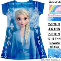 Dress Anak Scuba Import Motif Frozen Elsa Anna Baju Frozen Daster Elsa