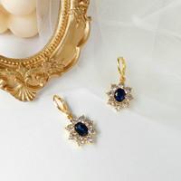 anting retro biru blue gemstone retro earrings jan230