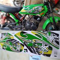 Stiker Striping variasi Motor RX King Grafis hijau