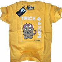 baju karakter anak kaos anak karakter dinosaurus tshirt anak cowok 2-9 - Kuning, S