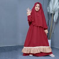 Aure Syari Kid Maroon [Baju Muslim Anak 0152] UBQ Baju Gamis Anak