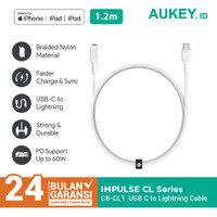 Kabel Iphone Aukey CB-CL1 Mfi USB C to Lightning 1.2m White - 500709