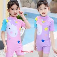 Baju Renang Anak Perempuan Swimsuit Unicorn Pink-Purple