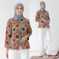 Baju Batik Blouse Bolero Wanita Kombinasi Motif Bunga Soft Kombinasi